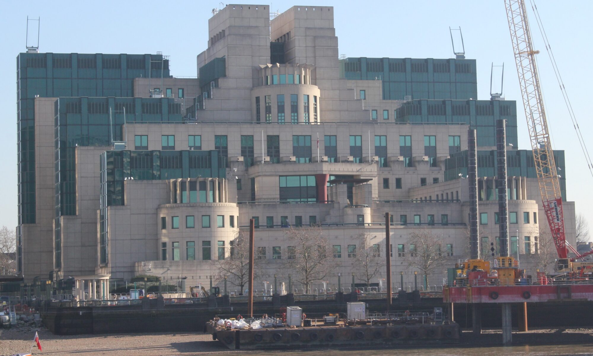 MI6 Headquaters in London as seen from the Milbank